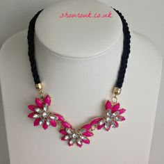 Lola Triple Burst Hot  Pink Necklace With Crystal Accents on a Black Twisted material Rope Effect Chain and a Gold Clasp