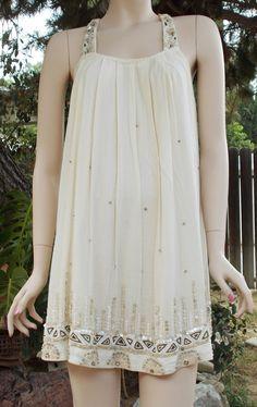Vintage Allsaints Spitalfields Jacks Place London Hand Embellished Mother Of Pearl Seed Bead Mini Dress