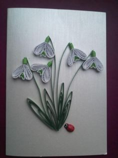Snowdrops - Quilling Design Antonia Paper Quilling Patterns, Quilling Craft, Quilling Ideas, Money Cards, Spring Theme, Bead Jewellery, Paper Art, Paper Crafts, Origami Paper