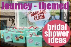 "Travel/Journey Themed Bridal Shower Ideas.  Creative ideas to help the bride  pack her ""suitcase"" with gifts to embark on her new phase of life.  Great for a teenage party or sweet 16."