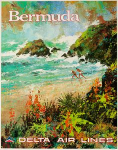 DP Vintage Posters - Delta Airlines Original Vintage Travel Poster Bermuda Laycox