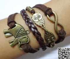 ancient bronze infinity the owl and the elephant charm by Carlydiy, $5.99