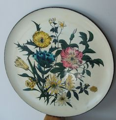 Vintage Floral Lacquerware Round Tray Alcohol by lookonmytreasures, $18.50