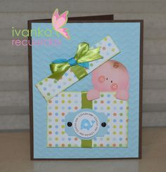 #Punchart baby idea for shower invitation card visit me at http://stampingwithbibiana.blogspot.com/