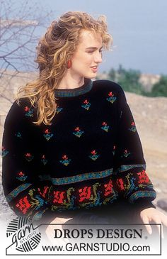 """DROPS 23-15 - DROPS jumper with lily pattern in """"Alaska"""". Size S-L. - Free pattern by DROPS Design"""