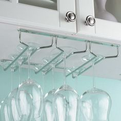 Features:  -3 Rails holds 6 - 9 stems.  -Able to install side by side to hold more stemware.  -Easy to mount hardware included.  -Fits under most kitchen cabinet.  -Sleek silver design.  -Rail under c