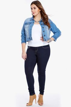 Plus Size Aaron Destructed Skinny Jeans | Fashion To Figure | FTF ...