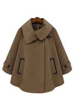 This coat has been crafted in worsted, featuring a turndown collar with asymmetric detail, cape style with long sleeves, in medium length cut, in loose fit.$104