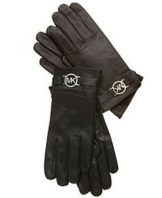 MICHAEL Michael Kors Gloves, Leather with Logo Trim