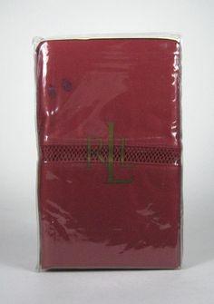 NEW Ralph Lauren Regent Sateen 600T King Pillowcases Pomegranate Red 20 x 40 In #LaurenRalphLauren #Solid