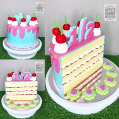 Half Cake For 6th Month Birthday Girls Twin Baby Shower Cakes