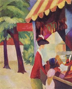 August Macke - In front of the hat shop (woman with red jacket and child), 1913, oil on canvas