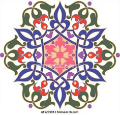 Clipart of Green, blue, pink, red and purple flower pattern Arabesque Design u15209913 - Search Clip Art, Illustration Murals, Drawings and Vector EPS Graphics Images - u15209913.eps