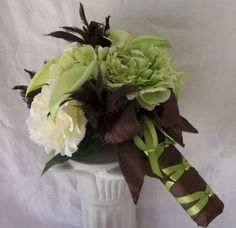 Peony and Calla Lily Wedding Bouquet via Etsy by: 3Mimis. Chocolate Brown and Mint Green Trendy Colors
