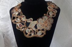 Statement Pastel Silver Flowers Beaded Necklace, Embroided Bib Neck Piece, Elegant Romantic Haute Couture Collar