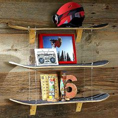 Shop skateboard shelf from Pottery Barn Teen. Our teen furniture, decor and accessories collections feature fun and stylish skateboard shelf. Wall Shelf Decor, Hanging Shelves, Wall Shelves, Diy Shelving, Boy Room, Kids Room, Skateboard Shelves, Skateboard Bedroom, Skateboard Furniture