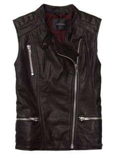 Sleeveless Leather Biker Jacket > Womens Clothing > Jackets at Maison Scotch