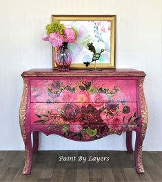 SOLD SOLD Not available Bombe chest painted in raspberry; Bombe with flower transfer Bohemian Furniture, Bohemian Interior, Funky Furniture, Paint Furniture, Furniture Making, Vintage Furniture, Furniture Ideas, Decoupage Furniture, Decoupage Paper