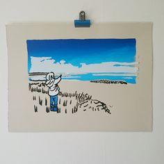 Northumberland Coastal Landscape, Beach, Seaside, Little Blue Girl, Original Artwork, Blue, Black & White on Ivory, Statement Art Print, by littlebluegirlco on Etsy