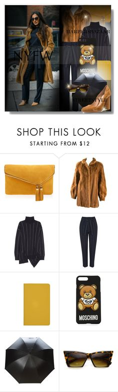 """NYFW '17 Street Style: Day One"" by bella-danielle-mia ❤ liked on Polyvore featuring Henri Bendel, Giorgio Sant'Angelo, STELLA McCARTNEY, Topshop, Moschino, Burberry, MLC Eyewear, Gianvito Rossi, StreetStyle and NYFW"