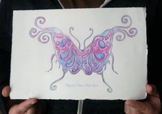 Butterfly ART Painting ORIGINAL Whimsical Wall by MazzyBlueStudios, $125.00