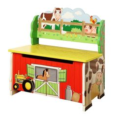 Fantasy Fields Happy Farm Kids Bench with Storage Compartment