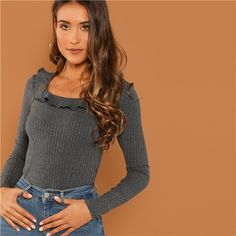 Modern Lady Grey Slim Fit Scoop Neck Ruffle Scoop Neck Ribbed Pullovers T shirt  2018 Autumn Campus Women Tshirt Top  tshirt  shirt  tops  tees  sweaters ... 8c9b56186348