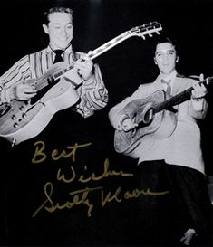 """Scotty Moore and Elvis Presley on stage at City Auditorium in Houston, TX on Saturday, April 1956 show at pm) Photo by John D. Greensmith courtesy Ger Rijff's book """"Fire in the Sun"""" Rockabilly, Are You Lonesome Tonight, Scotty Moore, Sun Records, Young Elvis, Elvis Presley Photos, Christmas Albums, Graceland, One In A Million"""