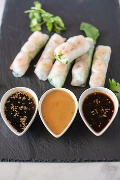 These Vietnamese Summer Shrimp Vegetable Rolls are a twist on the traditional spring roll minus the pork and the addition of a few more fresh veggies to bring the spring roll into summer. Shrimp Spring Rolls, Shrimp Rolls, Pork Spring Rolls, Vietnamese Summer Rolls, Vietnamese Salad Rolls, Vietnamese Food, Asian Recipes, Healthy Recipes, Healthy Chef