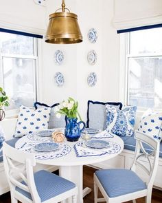 Blue and white banquette.