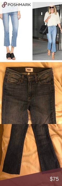 Paige Colette Ankle Crop Jeans Perfect condition. 10/10. These are the most amazing raw edge ankle crop flared pants. Sadly they are just too small on me. Size 24 and mid rise fit. See last photo for exact color. Paige Jeans Jeans Ankle & Cropped