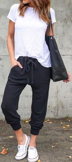#cute #outfits Black Lazy Day Pants // White Top // White Converse
