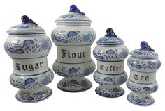 One Kings Lane - Calling All Cooks - Blue Floral Canisters, Set of 4