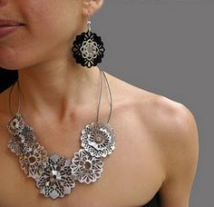 Leather & Silver. Via LSueSzabo on Etsy.