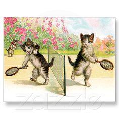 Postcard: Badminton Kittens Vintage Art from Zazzle.com