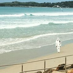 SPOTTED  Stormtrooper takes quiet walk along Port Fairy Beach Australia.   When things get hectic take a stroll.   via @cherrybarmelb  #thishappened #mindfullness #reflection #gatheryourthoughts #stormtrooper #starwars #portfairy #australia #thesocialcrew #eventlife by thesocialcrew
