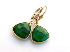 Items similar to Emerald Earrings Yellow Gold Bezel Faceted Teardrop on Etsy Emerald Earrings, Emerald Stone, Teardrop Earrings, Gemstone Rings, Etsy Shop, Gold, Gifts, Jewelry, Yellow