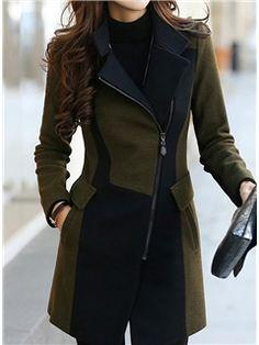 ericdress bloc de couleur manteau à glissière oblique