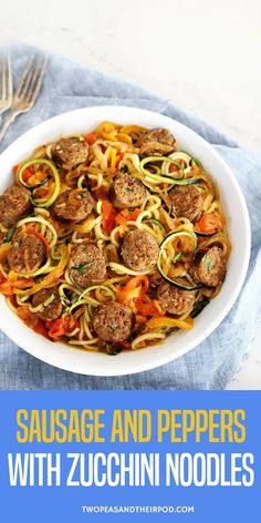 Sausage and Peppers with Zucchini Noodles-sweet and spicy Italian sausage with peppers, onions, and zucchini noodles in a simple garlic tomato sauce. #noodles #zucchini #peppers