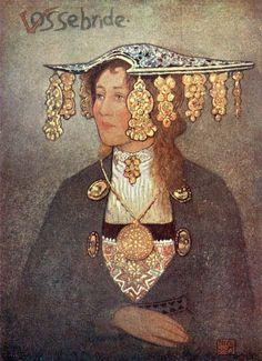 A Vosse Bride, Nico Jungman (Norway) Folk Costume, Costumes, Voss, Norwegian Wedding, Fine Art Prints, Canvas Prints, Bridal Crown, Poster Size Prints, Online Printing