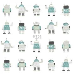 138938 HD non-woven wallpaper drawn vintage toy robots mint green and blue