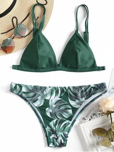 Cami Palm Leaf Print Bikini A site with wide selection of trendy fashion style women's clothing, especially swimwear in all kinds which costs at an affordable price. Cute Bikinis, Cute Swimsuits, Women Swimsuits, Bikini Swimwear, Sexy Bikini, Bikini Top, Thong Bikini, Lingerie, Zaful Bikinis