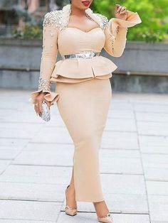 Sum All Chic, Shop Apricot Patchwork Rhinestone Cascading Ruffle Peplum Bodycon Elegant Party Maxi Dress online. Short African Dresses, Latest African Fashion Dresses, Mode Outfits, Fashion Outfits, Kitenge, Lace Dress Styles, Classy Dress, Elegant Dresses, Bodycon Dress