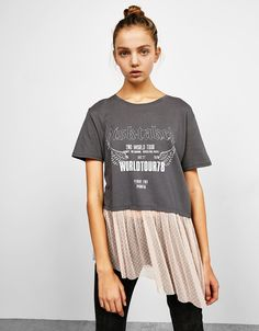 Printed T-shirt with plumetis lace hem. Discover this and many more items in Bershka with new products every week