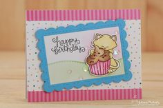 Happy Birthday Card by Juliana Michaels featuring Newton's Nook Designs Newton Loves Cake Stamp and Die Set