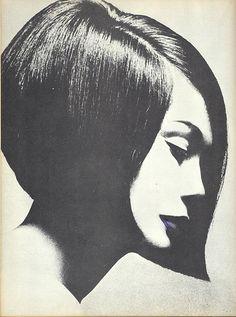 Vidal Sasson cut, Nancy Kwan for British Vogue 1963 by Terence Donovan
