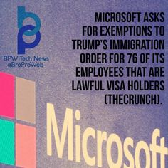 NEWS:  Microsoft isnt ending its general opposition to Donald Trumps executive order on immigration from last week but it is more formally requesting the granting of immediate exceptions that would help its own employees as well as the employees of other tech companies who are lawful visa holders but still affected by the ban.  In a blog post Microsoft President and Chief Legal Officer Brad Smith detailed the need the company identifies for an exception process that would make it possible…