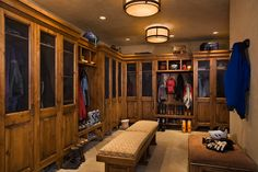 Now this is what I call the ultimate mud room!! (It's actually a nicely appointed team locker room.)