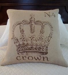 Crown Number 4 Burlap Pillow by GardenHollowStudio on Etsy, $35.00
