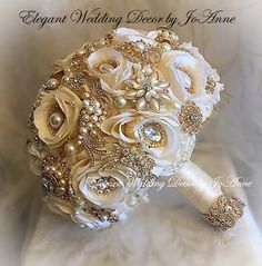 Items similar to IVORY AND GOLD Jeweled Bouquet- Deposit for a Custom Made Jeweled brides Bouquet, Gold Bouquet, Custom Jeweled Bouquet, brooch Bouquet on Etsy Gold Bouquet, Gold Wedding Bouquets, Broschen Bouquets, Wedding Brooch Bouquets, Beaded Bouquet, Boquet, Wedding Flowers, Gemstone Brooch, Crystal Brooch
